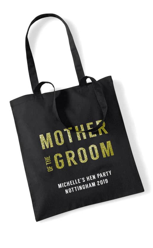 Mother of the Groom Bold Glitter Hen Party Tote Bag