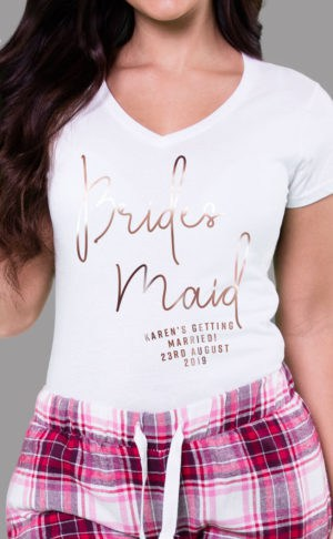 Bridesmaid - Personalised Check Pyjama Set