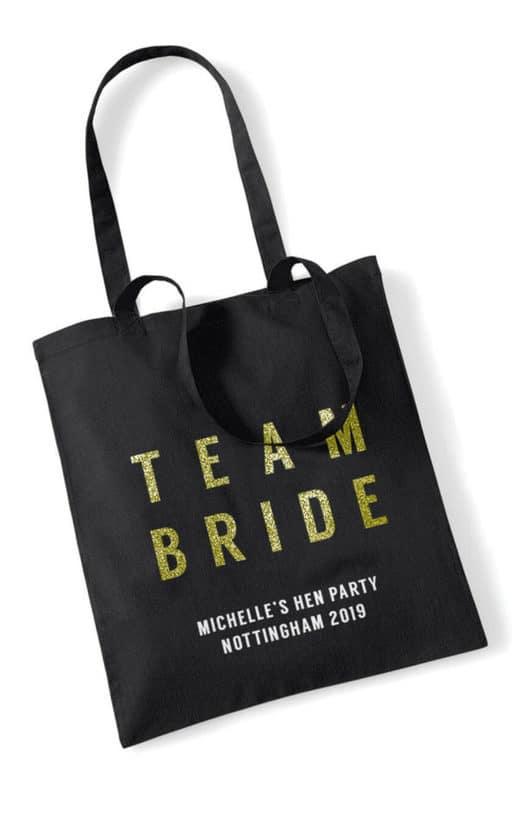Team Bride Bold Glitter Hen Party Tote Bag