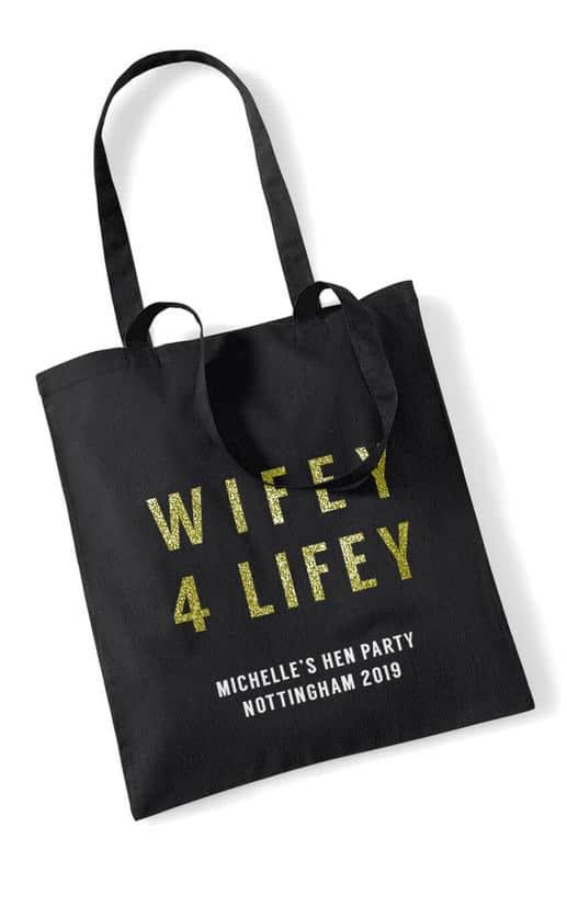 Wifey 4 Lifey Bold Glitter Hen Party Tote Bag