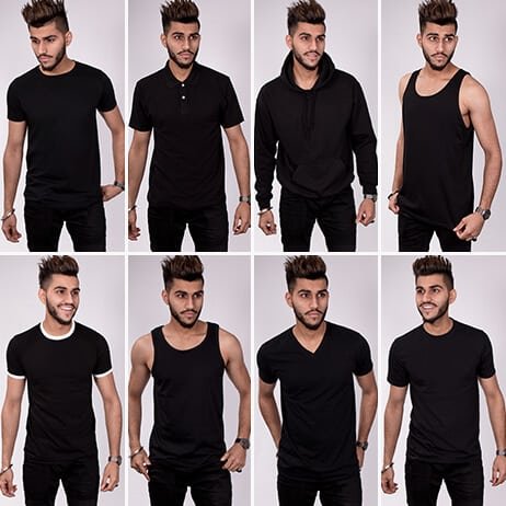 Divided into eight sections each showing a model wearing a different shirt type. All are dressed in black. Top row from left to right show style fit t shirt, polo, unisex hoodie and unisex vest. Bottom row includes ringer t shirt, mens vest top, v neck and mens casual t shirt